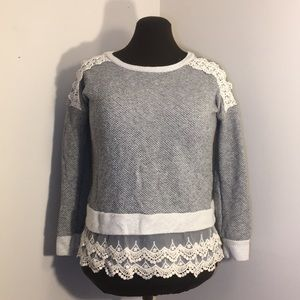 MAURICES Gray Sweater with Lace Details
